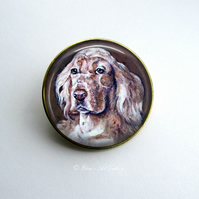 Gold Tone English Setter Dog Art Brooch