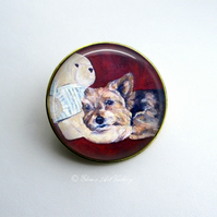 Gold Tone Yorkshire Terrier Dog Art Brooch
