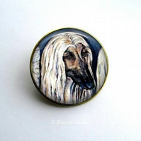 Gold Tone Afghan Hound Dog Art Brooch
