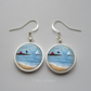 Silver Plated Sailing Boat Art Earrings