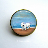 Gold Tone West Highland Terrier Dog Art Brooch
