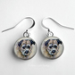 Border Terrier Dog Art Glass Tile Earrings