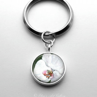 Silver Plated Orchid Flower Art Cabochon Keyring