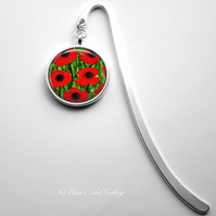 Silver Plated Red Poppy Flower Art Cabochon Bookmark