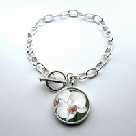 Silver Plated Orchid Flower Art Large Link Charm Bracelet With Toggle