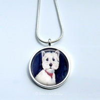 Silver Plated West Highland Terrier Dog Art Snake Chain Necklace