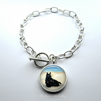 Silver Plated Scottish Terrier Dog Art Large Link Charm Bracelet With Toggle
