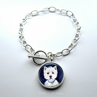 West Highland Terrier Westie Dog Art Large Link Charm Bracelet With Toggle