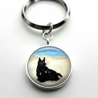 Silver Plated Scottish Terrier Dog Art Cabochon Keyring