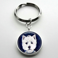 Silver Plated West Highland Terrier Dog Art Cabochon Keyring