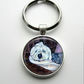 Silver Plated Old English Sheepdog Art Cabochon Keyring