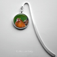Silver Plated Chicken Art Cabochon Bookmark