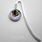 Silver Plated Bee on Flower Art Cabochon Bookmark