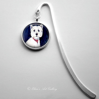 Silver Plated West Highland Terrier Dog Art Cabochon Bookmark