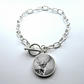 Silver Plated Fallow Deer Art Large Link Charm Bracelet With Toggle