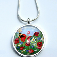 Silver Plated Wildflower Art  Necklace