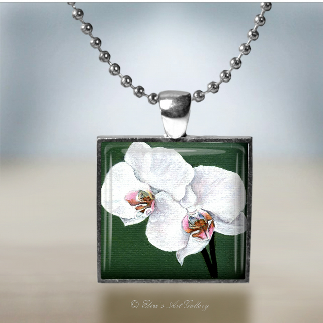 Silver Plated Orchid Flower Art Pendant Necklace