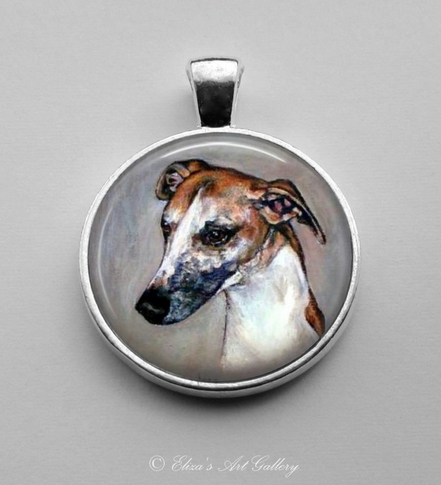 Silver Plated Greyhound Dog Art Pendant