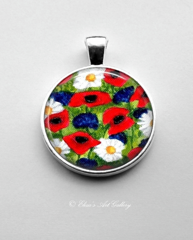 Silver Plated Cornflower Poppy and Daisy Flower Art Pendant