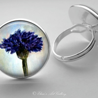 Silver Plated Cornflower Art Glass Cabochon Ring