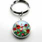 Silver Plated Wildflower Art Cabochon Keyring