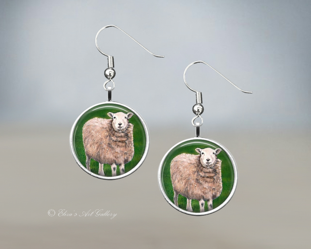 Silver Plated Sheep Art Earrings