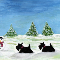 Original Scottish Terrier Dogs in the Snow Art Acrylic Painting