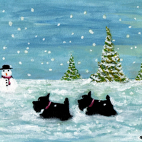 Original Scottish Terrier Dogs with Snowman Art Acrylic Painting