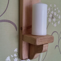Pair of 39cm handmade bespoke rustic solid wood wall sconce candle holders