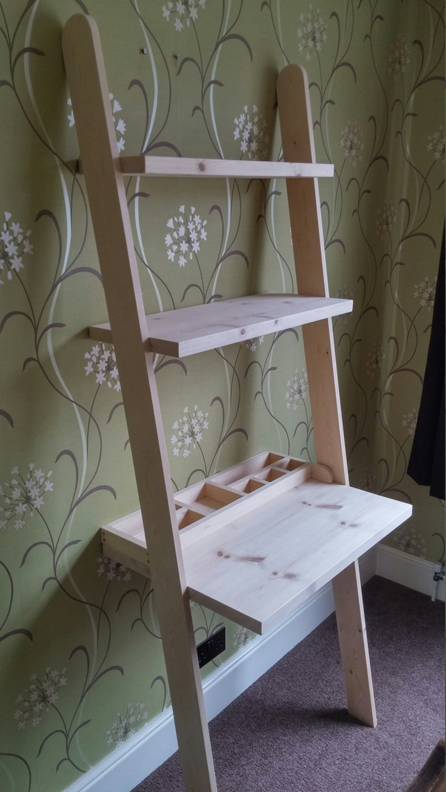 Lean to desk handmade wooden ladder desk with desk tidy