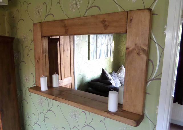 Hand made chunky bespoke rustic solid wood mirror with candle shelf
