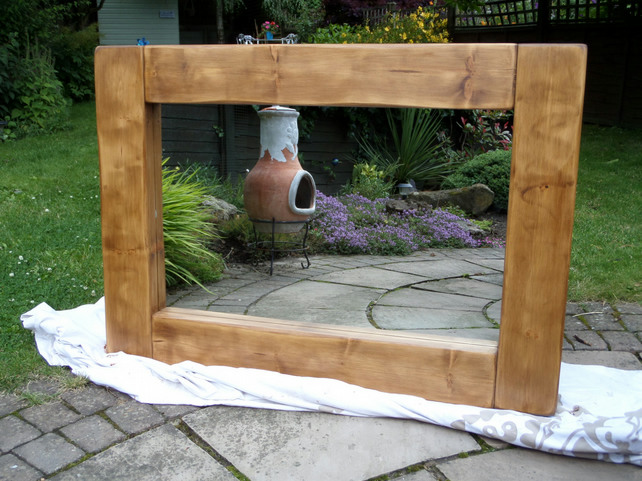 Hand made chunky bespoke solid wooden mirror made to order