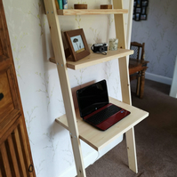 Lean to desk handmade wooden ladder desk