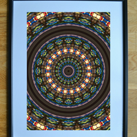 Stained glass window - A4 framed print