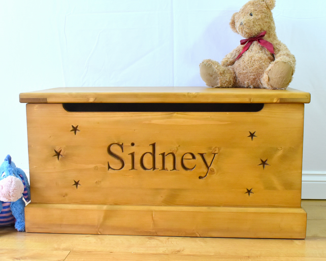Handmade Wooden Childrens Toy Box Carved Personalised Storage Chest Seat New