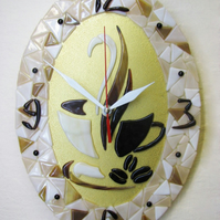 AROMATIC COFFEE FUSED GLASS CLOCK