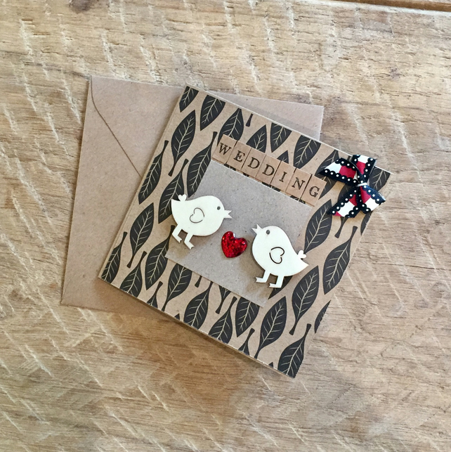 Wooden Birds Wedding Card