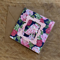 Pink Floral Cat Birthday Card