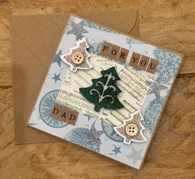 Dad Triple Christmas Tree Card