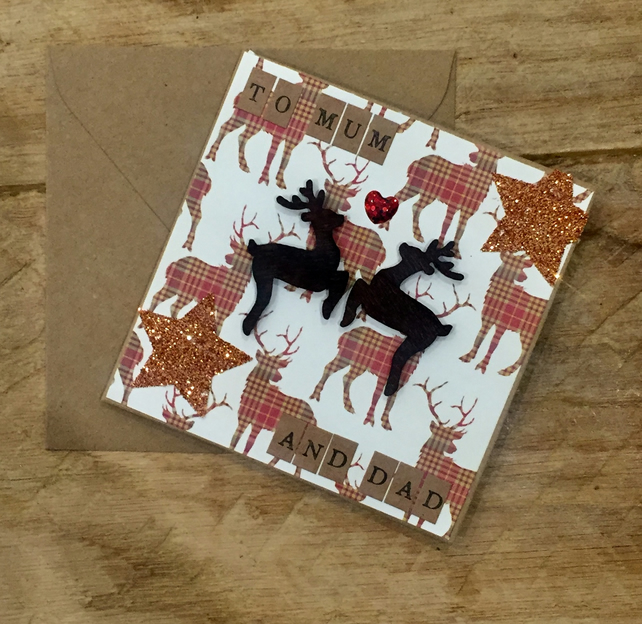 Mum & Dad Reindeer Christmas Card