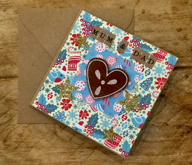 Mum & Dad Gingerbread Heart Christmas Card
