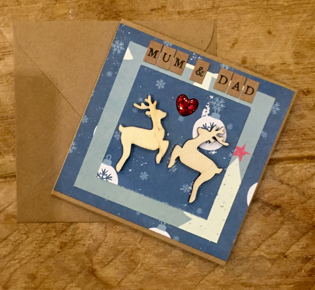 Mum & Dad Starry Night Reindeer Card