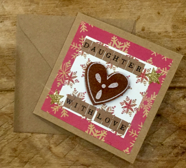 Daughter Gingerbread Heart Christmas Card