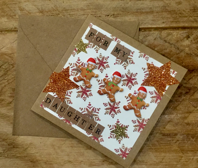 Triple Gingerbread Man Daughter Christmas Card