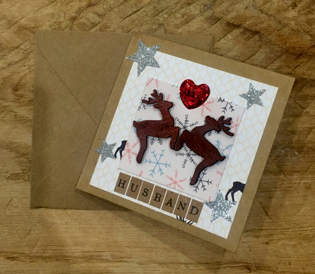 Husband Reindeer Christmas Card