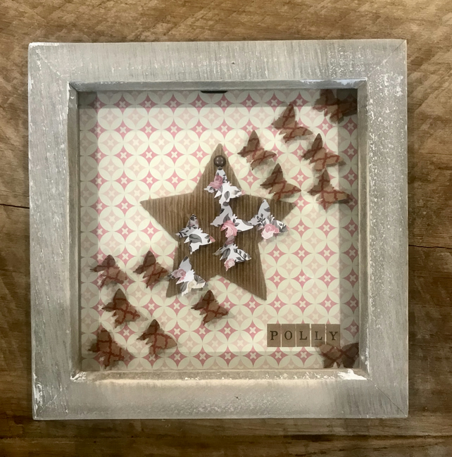 Personalised Girls Name Butterfly Box Frame