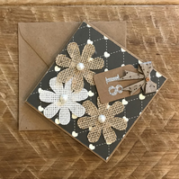 Hessian Flower 18th Birthday Card