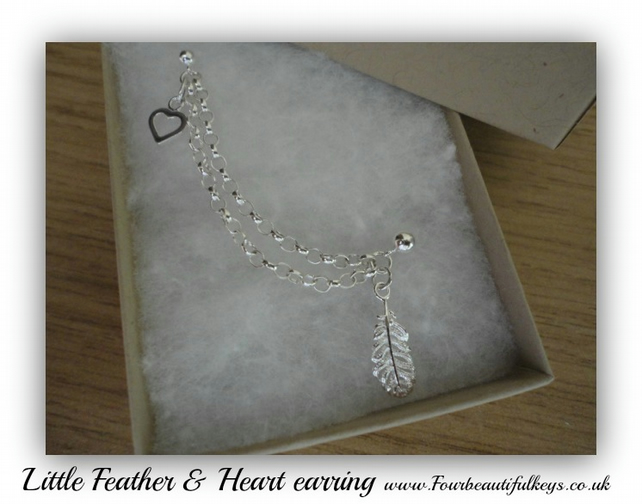 Little Feather and Heart double piercing earring