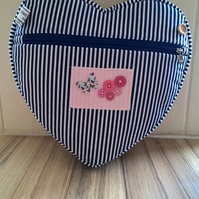 blue and white striped heart backpack