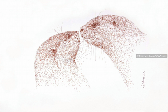 Otters in Love Print, Giclee Otter Print